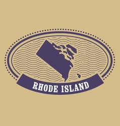 Rhode island map silhouette - oval stamp of state vector