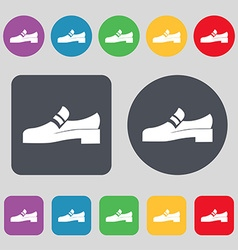 Shoe icon sign a set of 12 colored buttons flat vector