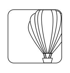 Square silhouette button with contour hot air vector