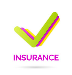 Bright sign and logo of life insurance vector