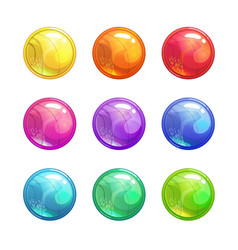 Cartoon glossy colorful round buttons vector
