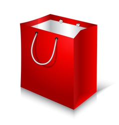 Empty red shopping bag on white background vector