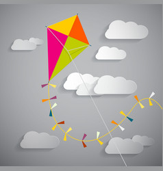 Paper Kite on Sky with Clouds - vector image