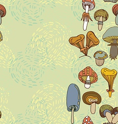 Seamless border of different mushrooms vector