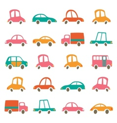 Colorful cute cars collection vector
