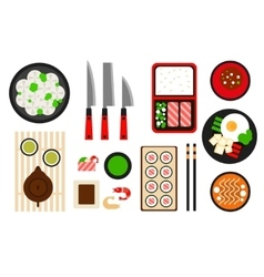 Restaurant asian cuisine flat icon vector