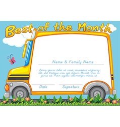 Certificate design with school bus background vector