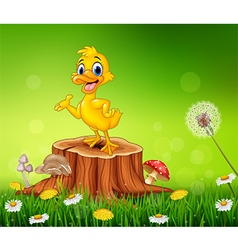 Cartoon funny duck presenting on tree stump vector image