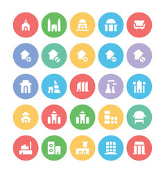 Building and furniture icons 3 vector