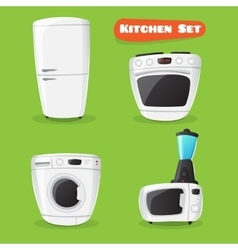 kitchen appliance collection Fridge stove vector image