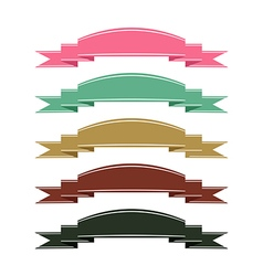 Retro color ribbon banner set on white background vector