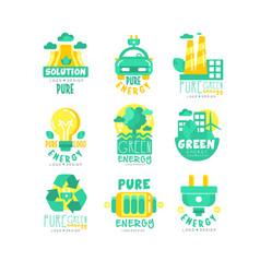 alternative green energy sources logo set vector image vector image