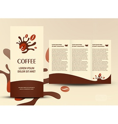 Brochure folder card coffee beans element design vector