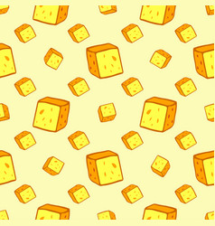 Cheese seamless pattern with many slices food vector