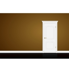 Closed white door on brown wall vector image vector image