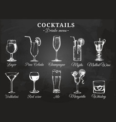 Cocktail glasses for drink vector