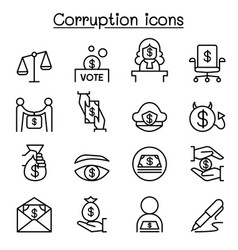 Corruption dishonesty icon set in thin line style vector
