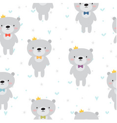 cute seamless pattern with cartoon bear baby vector image vector image