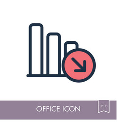 decrease outline icon office sign vector image