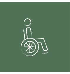 Disabled person icon drawn in chalk vector