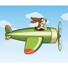 Dog Flying Plane vector image vector image