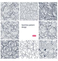 Floral seamless vintage pattern set vector