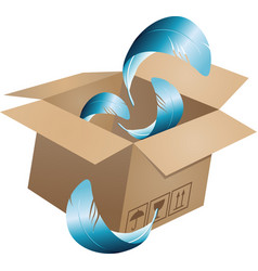 flying object in carton box-05 vector image vector image