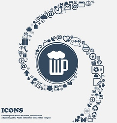 Glass of beer with foam icon in the center around vector
