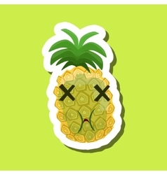 Green pineapple being sick cute emoji sticker on vector