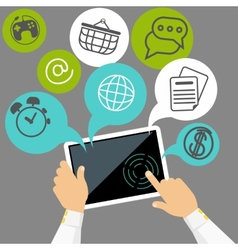 Hands holding digital tablet with application vector image