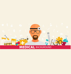 medical flat sticker background concept design vector image vector image