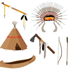 Native american set six icons vector