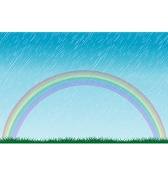 Rain and rainbow vector image vector image