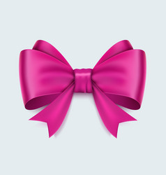 realistic pink bow isolated on white background vector image vector image