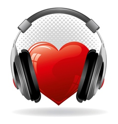 Red heart with headphones music concept vector