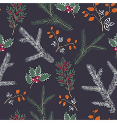Seamless pattern floral branches winter christmas vector image vector image
