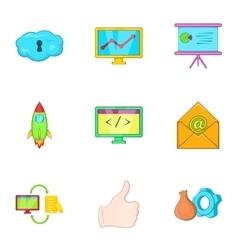 SEO promotion icons set cartoon style vector image