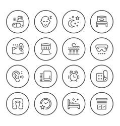 set round line icons of sleep vector image