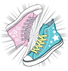 shoes blue with stars and pink hearts vector image vector image