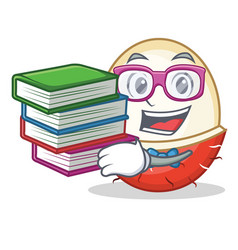 Student with book rambutan mascot cartoon style vector