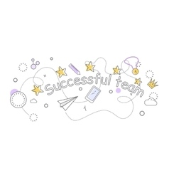 Successful team banner indispensable things vector