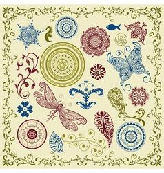 Summer vintage floral bright design elements vector