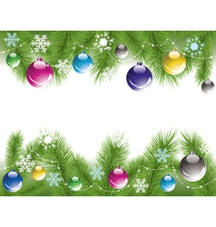 xmas tree branches with decoration vector image