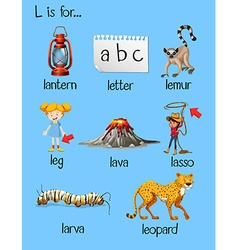 Many words begin with letter l vector