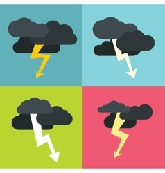 Thunderclouds flat icons on color background vector