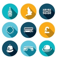 Set of united kingdom icons tower clock vector