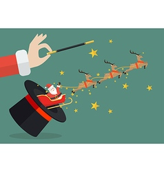 Santa claus with reindeer sleigh flying out of the vector image