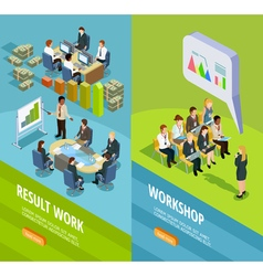 Business learning isometric vertical banners vector