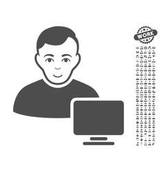 Computer Administrator Icon With Bonus vector image