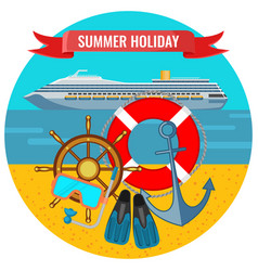 Summer holiday posters with travelling cruise vector